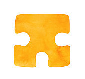 Water color painting of bright yellow jigsaw puzzle piece shape. One single object. Handdrawn watercolor graphic illustration on white background, cut out clipart element for design, banner, emblem.