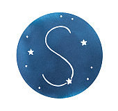 """Water color drawing of """"S"""" letter with dark blue night sky and stylized stars. Handdrawn watercolor sketchy illustration, cut out clip art element for design decoration, card, print, modern poster."""