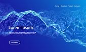 Wave of blue particles. Abstract landing page technology background. Sound mesh pattern or grid landscape. Digital data structure consist dot elements. Future vector illustration.