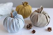 linen fabric pumpkins for thanksgiving and halloween