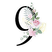 Floral Number. Set digit with botanical bouquet. Wedding invitations, greeting card, birthday, logo, poster other ideas.