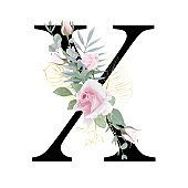 Floral Alphabet. Set letter with botanical bouquet. Wedding invitations, greeting card, birthday, logo, poster other ideas.