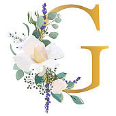 Floral Alphabet. Set letter e with botanical bouquet. Wedding invitations, greeting card, birthday, logo, poster other ideas.