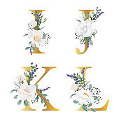 Floral Alphabet. Set letters with botanical bouquet. Wedding invitations, greeting card, birthday, logo, poster other ideas.