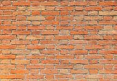 wall made with red bricks and mortar