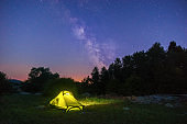 illuminated yellow tent at twilight with milkyway on the sky
