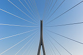 bridge tower with stay cables closeup