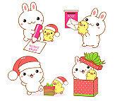 Set of kawaii bunny and duckling. Cute Christmas collection