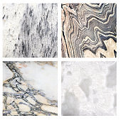Collection of square stone backdrops with old marble texture