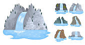 Set waterfall, landscapes with mountains and trees