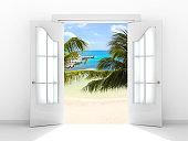 View of ocean through door