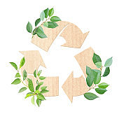 Arrows recycle symbol and green leaves on striped cardboard texture