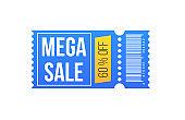 Big super sale on coupon discount ticket.