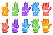 Foam hand fingers, sport supporting sign fan.