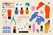 Nail care doodle tools. Cosmetics vector set, beauty salon service, manicure equipment. Cream, brush, female hands