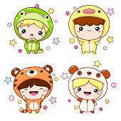 Set of kawaii boy and girl in animal costumes