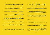 Set of wavy hand drawn horizontal lines.