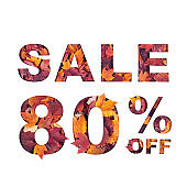 text sale 80 percent off filled with texture of red fall maple leaves