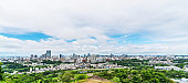 city skyline aerial view of Sendai in Japan