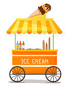 Colorful vector ice cream cart with ice cream cone on the roof. Street kiosk, icecream vending booth isolated cartoon object on white background. Stand selling delicious summer dessert sale