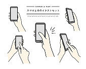 """A set of simple line illustrations of a hand holding a cell phone. The Japanese words written on the page mean """"set of illustrations of a phone and hands""""."""