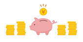 Illustration background of a piggy bank and a pile of coins.