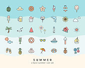 A set of icons of summer items.