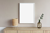 Blank picture frame mockup on a wall. Artwork showcase in a living room