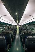 Inside of Korean train. Empty seats