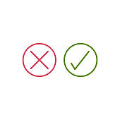 check mark and cross box icons. right and wrong symbol. Tick vote flat icons for web and mobile applications. Stock Vector illustration isolated on white background.