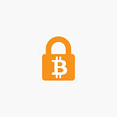 Lock bitcoin. Computer hacker and ransomware vector concept. Criminal hacking, data theft and blackmailing symbol. Bitcoin digital currency sign.