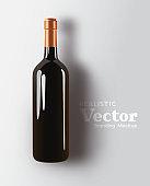 Realistic Bottle Of Red Wine Beverage Vector Mock Up