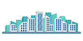 City skyline. Urban landscape. Cityscape with modern buildings. Vector illustration.