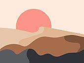 Sunrise in a minimalistic style