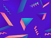 Geometric seamless pattern in 80s style. Gradient shape. Synthwave retro background for printing on paper, advertising materials and fabric. Vector illustration