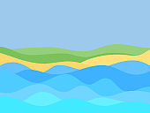 Seashore in a minimalistic style. Wavy landscape from the sea to the shore. Waves and beach in a flat style. Boho decor for prints, posters and interior design. Vector illustration