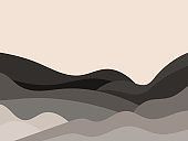 Wavy landscape in a minimalistic style. Landscape with hills. Boho decor for prints, posters and interior design. Mid Century modern decor. Trend style. Vector illustration