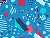 Geometric seamless pattern in the style of 80's. Trendy retro background for printing on paper, advertising materials and fabric. Vector illustration