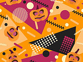 Geometric shapes with pumpkins. Halloween seamless pattern in style 80s. Background for printing on paper, advertising materials and fabric. Vector illustration