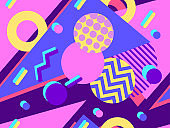 Geometric seamless pattern in the style 80s. Circles with zigzags and geometric shapes. Background for wrapping paper, advertising materials and fabrics. Vector illustration