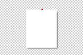 Vector realistic isolated pinned paper on the transparent background.
