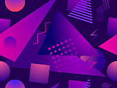 Gradient geometric seamless pattern in 80s style. Synthwave retro background. Retrowave. Background for printing on paper, advertising materials and fabric. Vector illustration