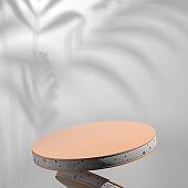 Pedestal with luxury wood concrete natural material. Product Mockup Presentation Platform.