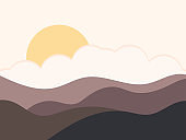 Mountain landscape in a minimalistic style. Sunrise and sunset, yellow sun. Boho decor for prints, posters and interior design. Mid Century modern decor. Trend style. Vector illustration