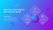 Glassmorphism concept with 3d geometric shapes. Frosted glass effect. Illustration on blurred gradient vector background