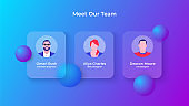 Glassmorphism our team concept with 3d geometric shapes. Frosted glass effect. Illustration on blurred gradient vector background
