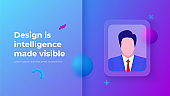 Glassmorphism concept with 3d geometric shapes and businessman avatar. Frosted glass effect. Illustration on blurred gradient vector background