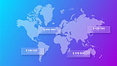 Glassmorphism world map concept. Frosted glass effect. Illustration on blurred gradient vector background