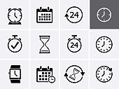 Time and clock Icons set.