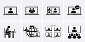 Video Conference Icons set, conferencing.